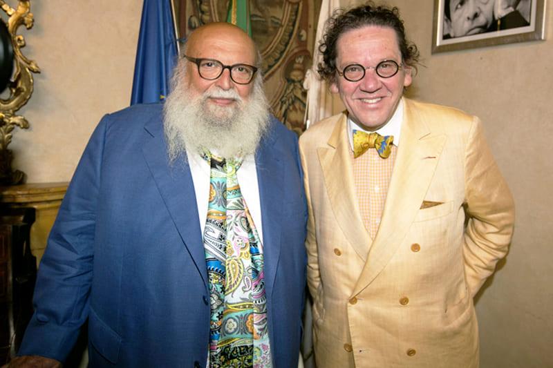 L'artista Fioroni con lo storico e critico d'arte Daverio