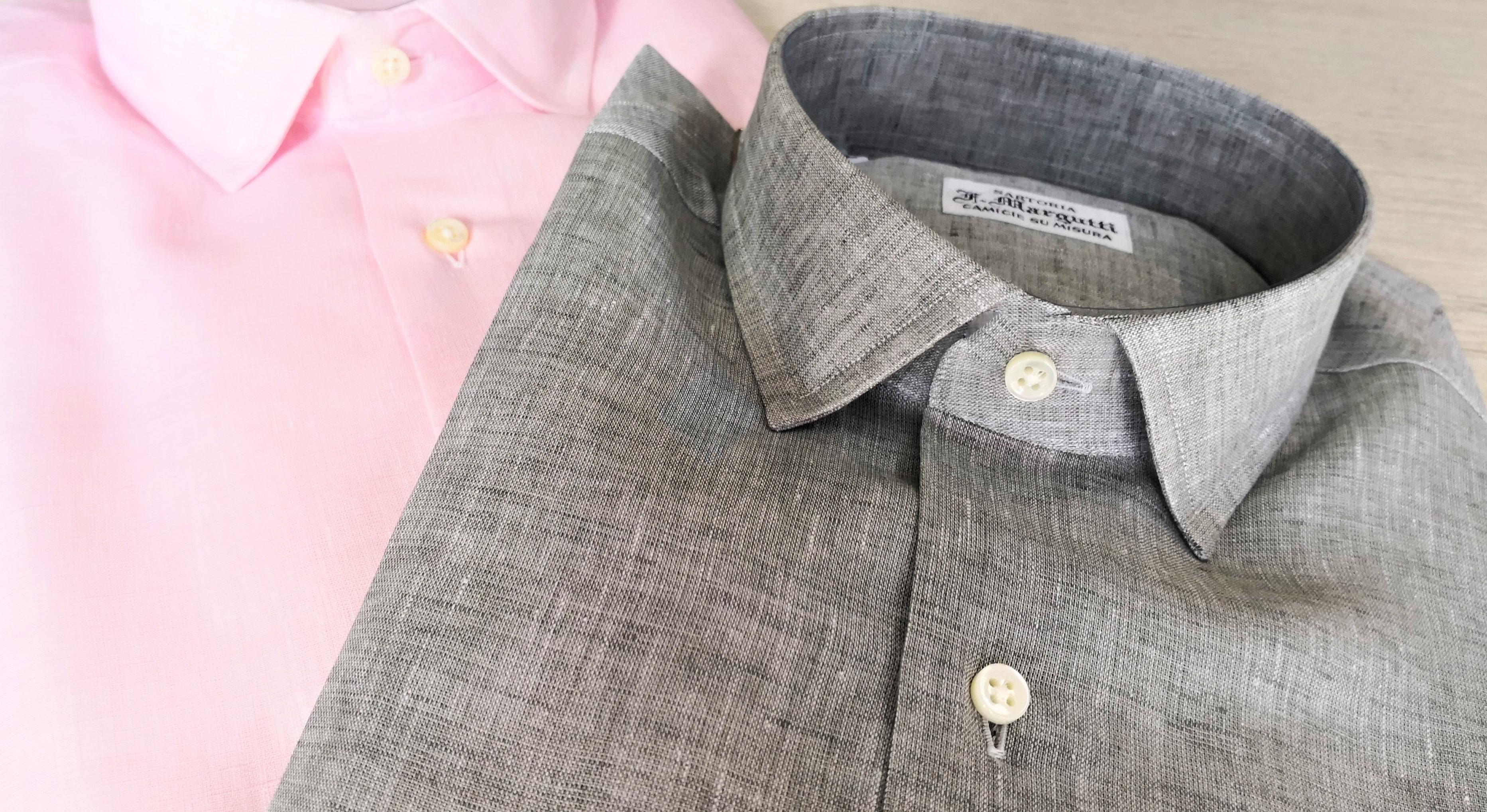 camicie di lino in tinta rosa e beige