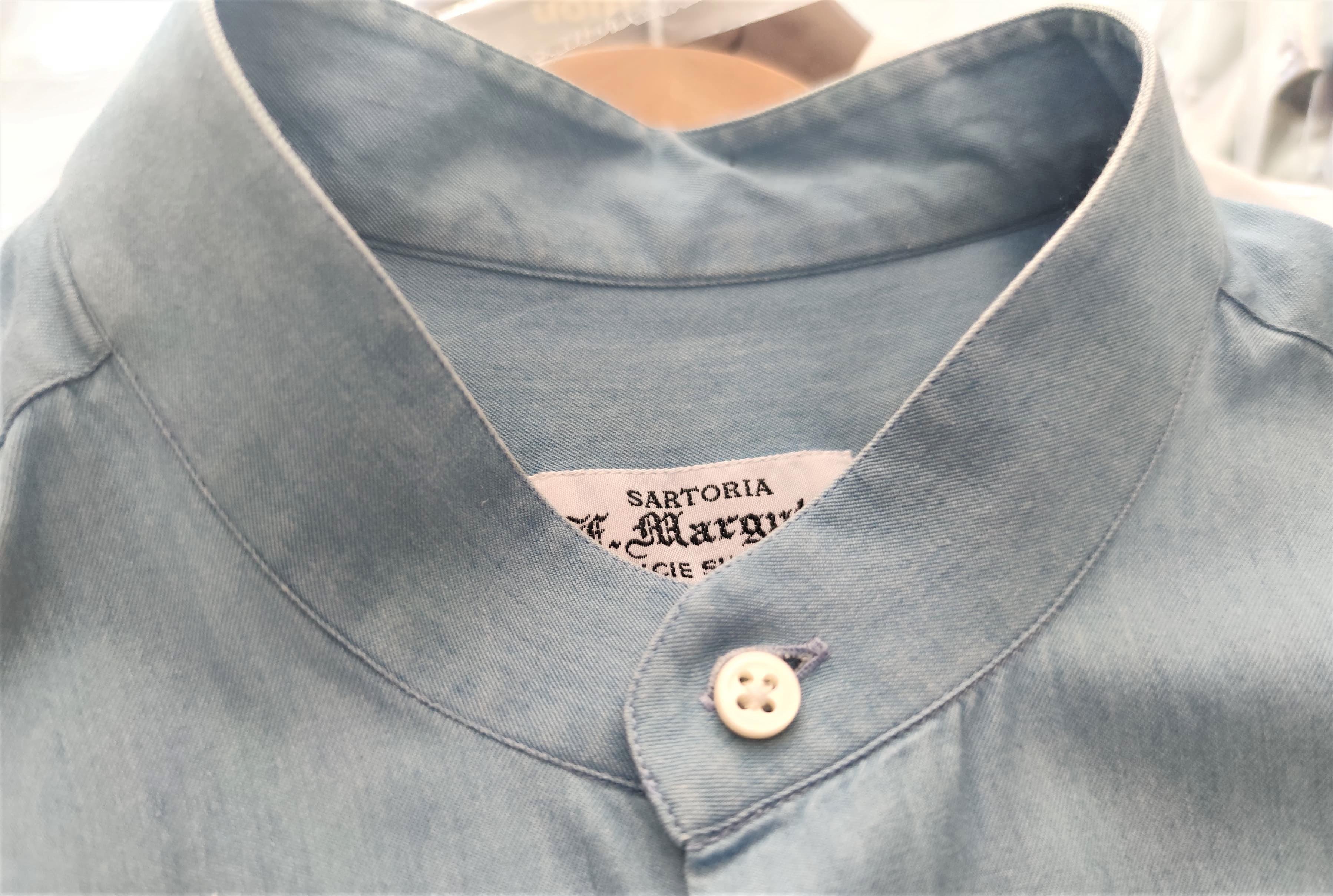 camicia con colletto alla coreana