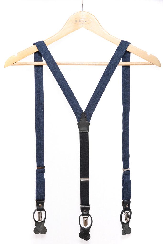 Bretelle uomo artigianali fatte a mano blu jeans