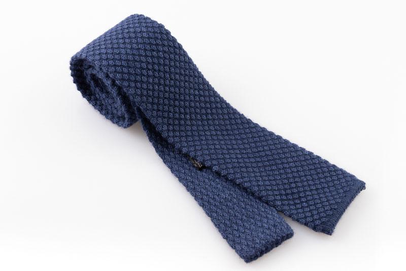 Cravatta artigianale sartoria fatta a mano blu cashmere
