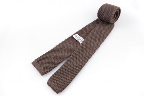 Cravatta artigianale sartoria fatta a mano marrone cashmere