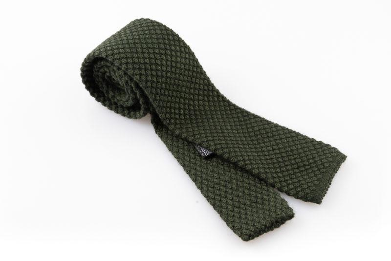 Cravatta artigianale sartoria fatta a mano verde cashmere