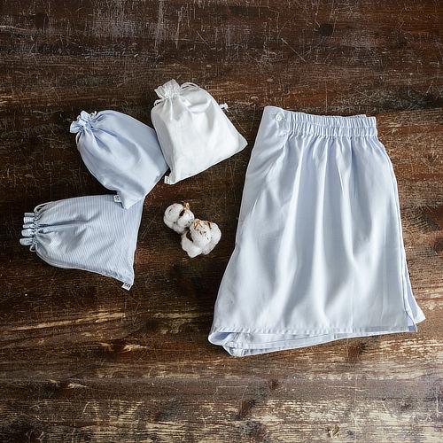 Boxer uomo in cotone cuciti a mano in sacchetti di cotone