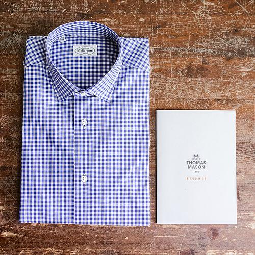 Camicia Thomas Mason quadretti blu e bianca con garanzia