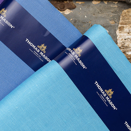 Tessuti blu e azzurro Thomas Mason cotone